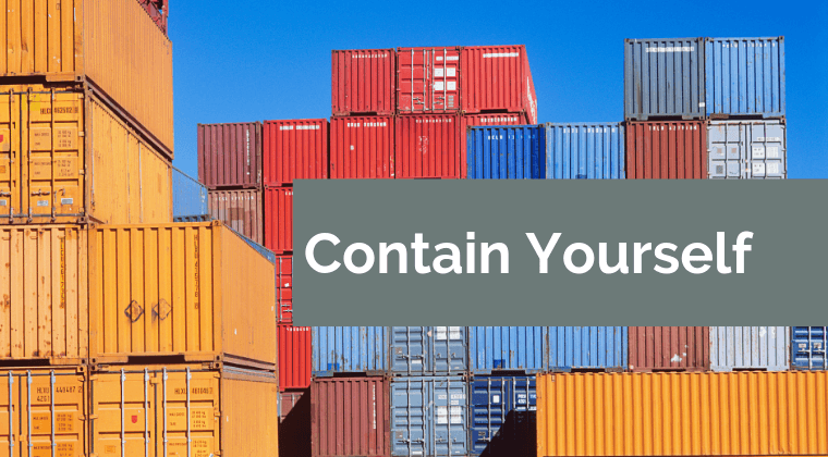 Lots of shipping containers, in various colors, stacked on top of each other.
