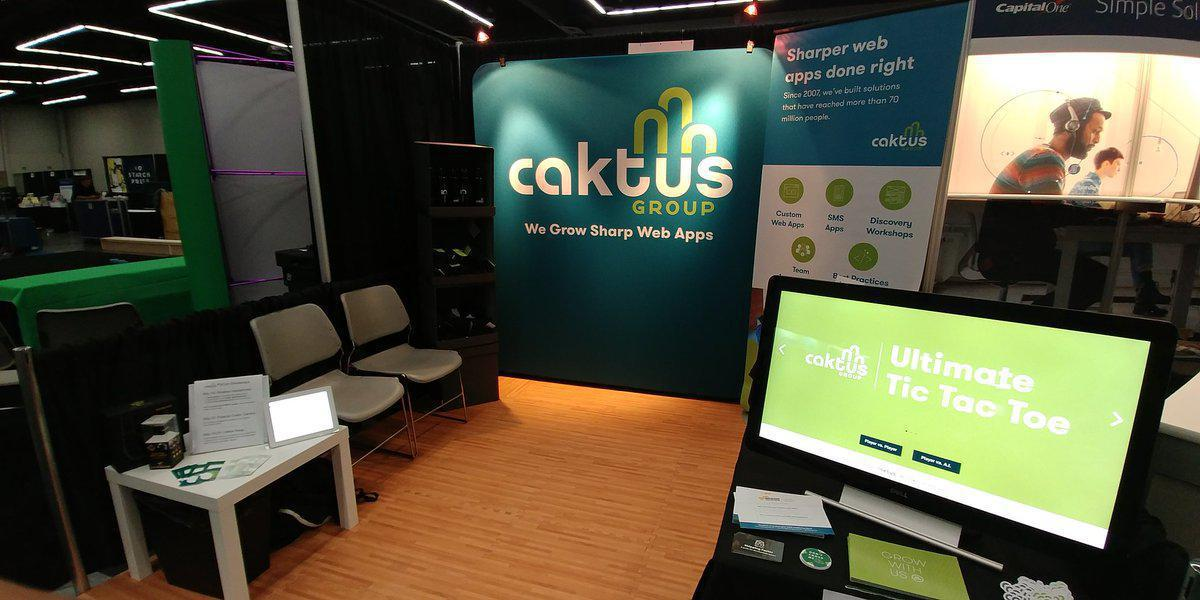 The Caktus booth set up at PyCon 2017