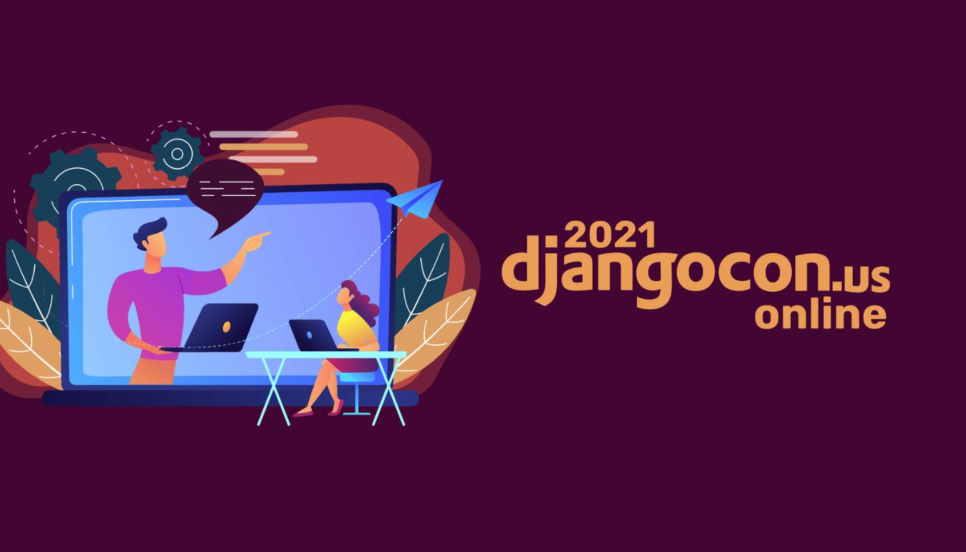 DjangoCon logo with illustration of two people talking