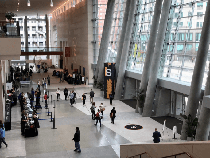 Image of the lobby from the Internet Summit in Raleigh.