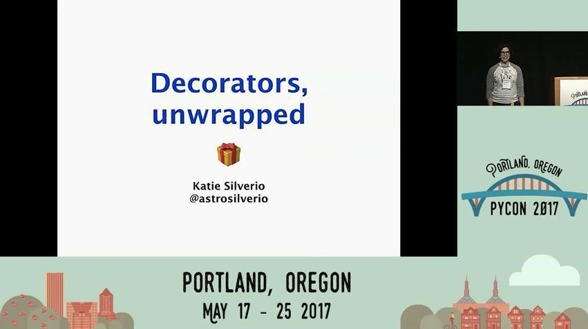 Katie Silverio speaking about Python decorators at PyCon 2017.