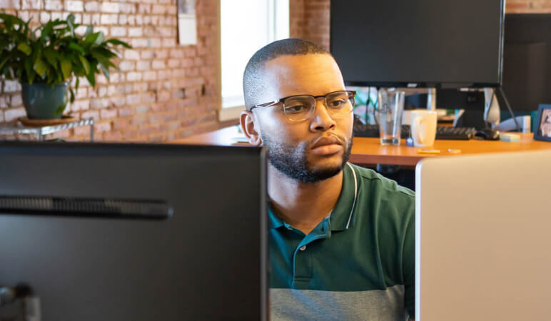 Developer looking at screen