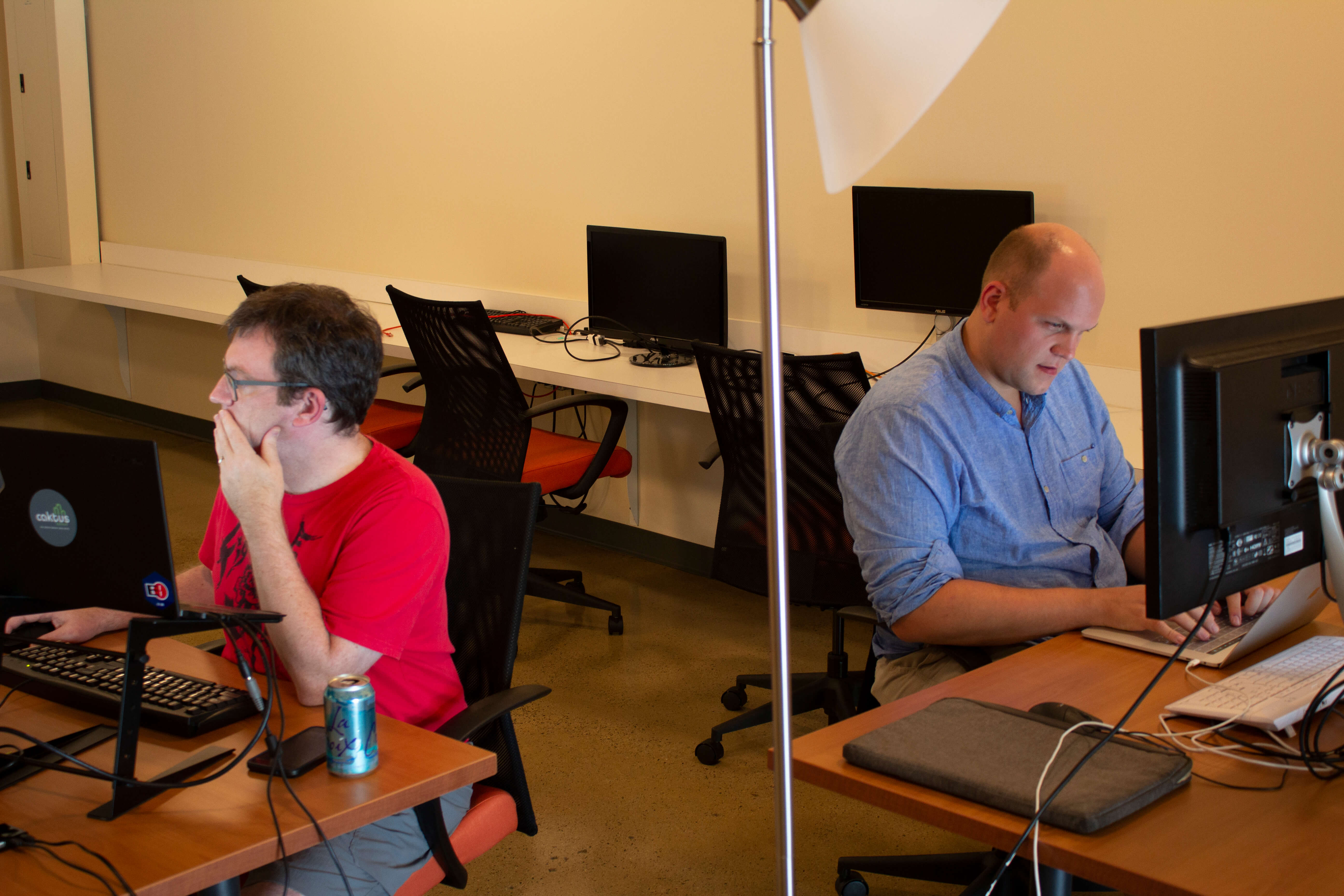 Two developers working at their desks