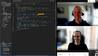 Screenshot of Tobias and Colin working together