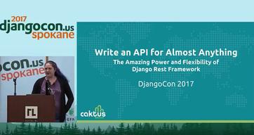 Charlotte Mays presenting her talk at DjangoCon 2017.