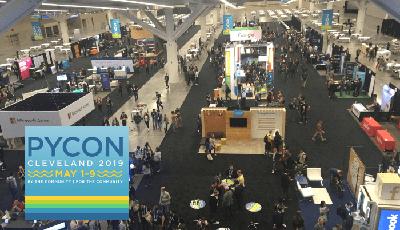 The exhibit hall during PyCon 2019