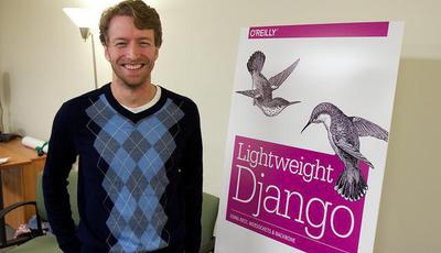 Mark Lavin standing next to Lightweight Django