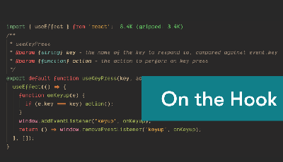 Screenshot of code for React hooks