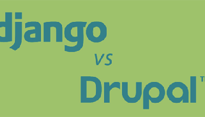 Django and Drupal logos on green background