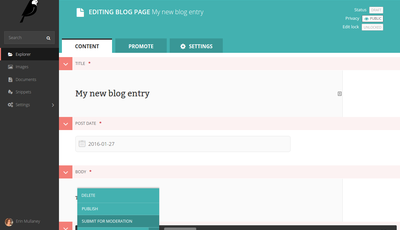 Wagtail interface where moderators can review, edit, save and publish posts